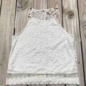 LA Hearts crochet crop top w/ sheer back